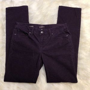 Loft Purple Modern Straight Corduroy Pants 28/6